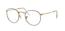 Ray Ban RX3447V 3105 50Metal Round Eyeglass Frames - Gold/Blue, Size 50mm - $171.27