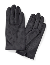 Banana Republic Leopard Perforated Leather Gloves in Dark Navy Blue  - $78.00