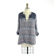 L - Ace & Jig Admiral Harmony Top Double Layer Metallic Gray Knit Top 08... - $99.99