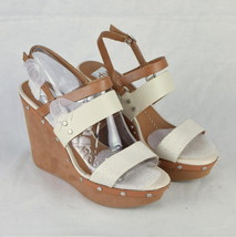 DOLCE VITA Brown White Leather Wedge High Heel Ankle Strap Sandals Shoes... - £19.85 GBP