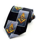 Masonic Blocks Mens Neck Tie Mason Black Necktie Freemason Compass Squar... - $15.79