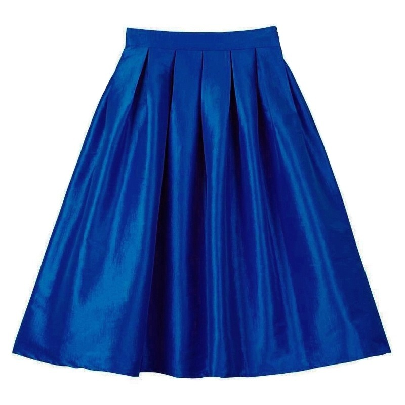 Primary image for Blue Green A-Line Knee Length Ruffle Skirt Taffeta High Waist Pleated Skirt NWT