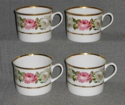 1969 Set (4) Royal Worcester ROYAL GARDEN PATTERN Handled Cups MADE IN E... - $63.35