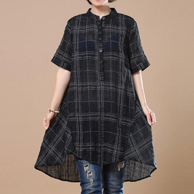 2018 ZANZEA Women Cotton Linen Blouse Vintage Plaid Check Short Sleeve Summer Wo image 4