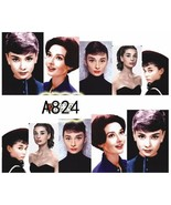 Water Transfer Watermark Art Nails Decal Sticker Audrey Hepburn A824 - $1.73