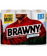 Brawny Paper Towels, Pick-a-Size, 6 Large Rolls, White, 6 = 8 Regular Rolls - $32.31