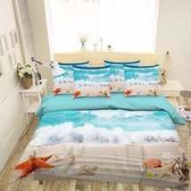 3D Beach View 2 Bed Pillowcases Quilt Duvet Cover Set Single Queen King Size AU - $90.04+