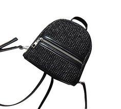 Straw Bag Handmade Beach Summer Bag Straw Backpack for Travel [Black] - £20.97 GBP