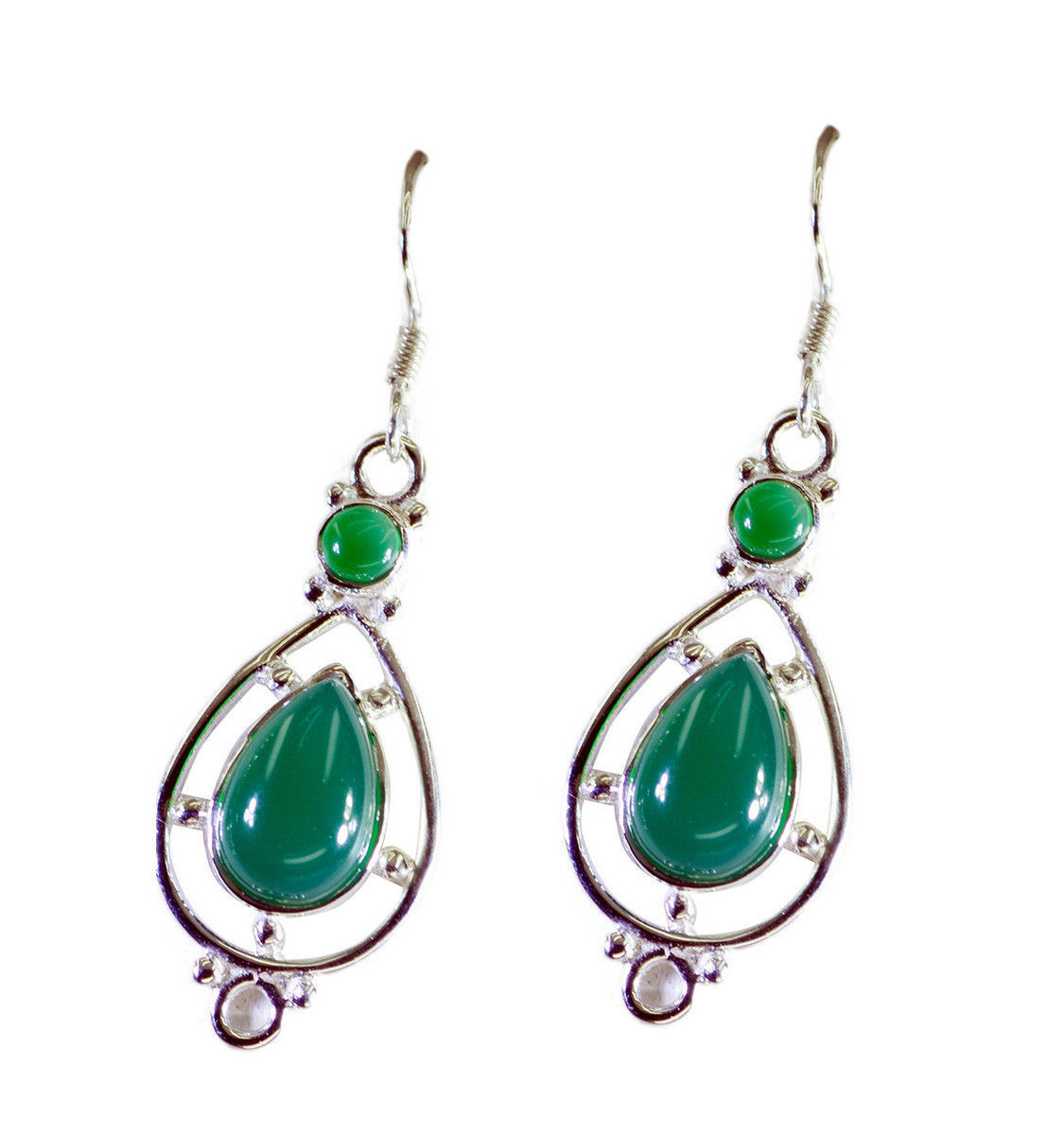 resplendent Green Onyx 925Solid Sterling Silver Green Earring Natural general US