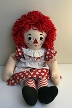 "Applause 20"" Raggedy Ann Doll White Apron Red Dress Hearts I Love You - $10.12"