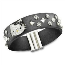SWAROVSKI X Hello Kitty Auth 1145284 Rock Leather Bracelet Used from Japan - $297.07