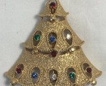 Vintage Christmas Tree Brooch Pin JJ 1980s Cut Outs Multi Color Stones Goldtone