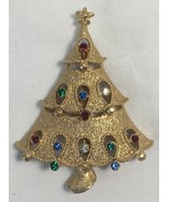 Vintage Christmas Tree Brooch Pin JJ 1980s Cut Outs Multi Color Stones G... - $24.95
