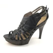 Nine West Womens Size 8.5 Black Leather Strappy High Heels Cut Out Buckl... - $39.55