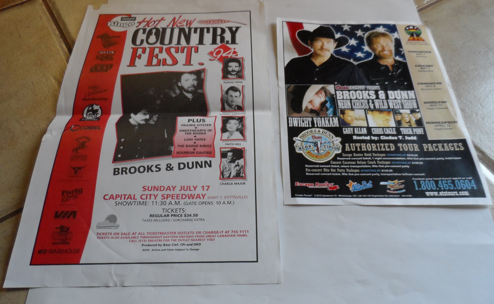 Primary image for BROOKS & DUNN 2 VINTAGE FLYERS NEON CIRCUS & WILD WEST TOUR COUNTRY FEST COUNTRY