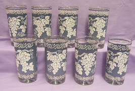 Ice Bucket & Glass Set Hazel Atlas Colony Blue White Grapevine 9 Piece Lot - $19.79
