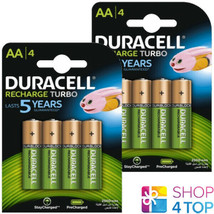 8 Duracell Recharge Turbo Aa Batteries 1.2V HR6 Ni Mh 2500mAh Mignon New - $28.11