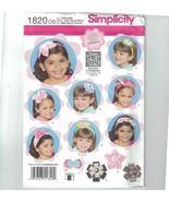 Simplicity 1820 Girls Hair Accessories Bow Flower Rosette Headband UNCUT - $5.50