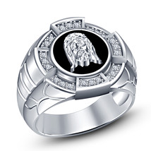 925 Silver 14k White GP Round Cut CZ Christian Religious Jesus Face Men's Ring - $112.99