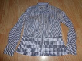 Women's Liz Claiborne M Shirt Striped Blue Black White - $16.69
