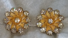 Signed BSK Gold tone textured flower earrings clear rhinestone vintage bling - $15.00