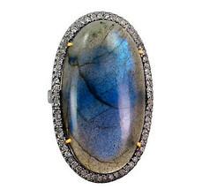 14k Gold Diamond Pave Labradorite Oval Cocktail Ring 925 Sterling Silver... - $705.40
