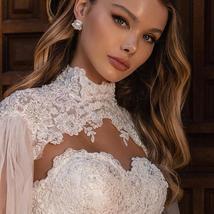 New Vintage Celeb Fashion Removable High Neck Long Sleeve Bolero A Line Lace Bea image 3