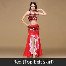 9 Colors Professional Belly Dancer Sequin Beaded Outfits Bra Belt Skirt image 6