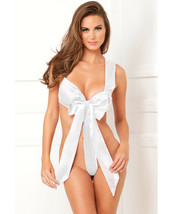 RENE ROFE LUXURY UNWRAP ME ONE PIECE WHITE SATIN BOW TEDDY Size S/M-M/L - $18.99