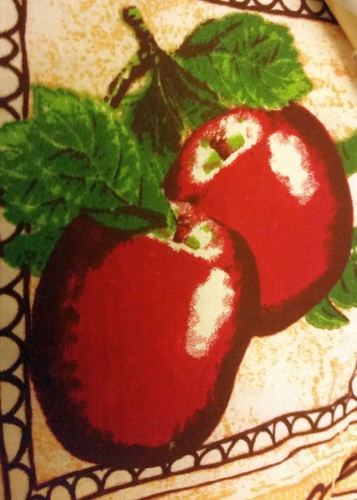 "Fabric Printed 13"" Jumbo Oven Mitt, 2 APPLES & THE FARM, bigger frame, red, BH"