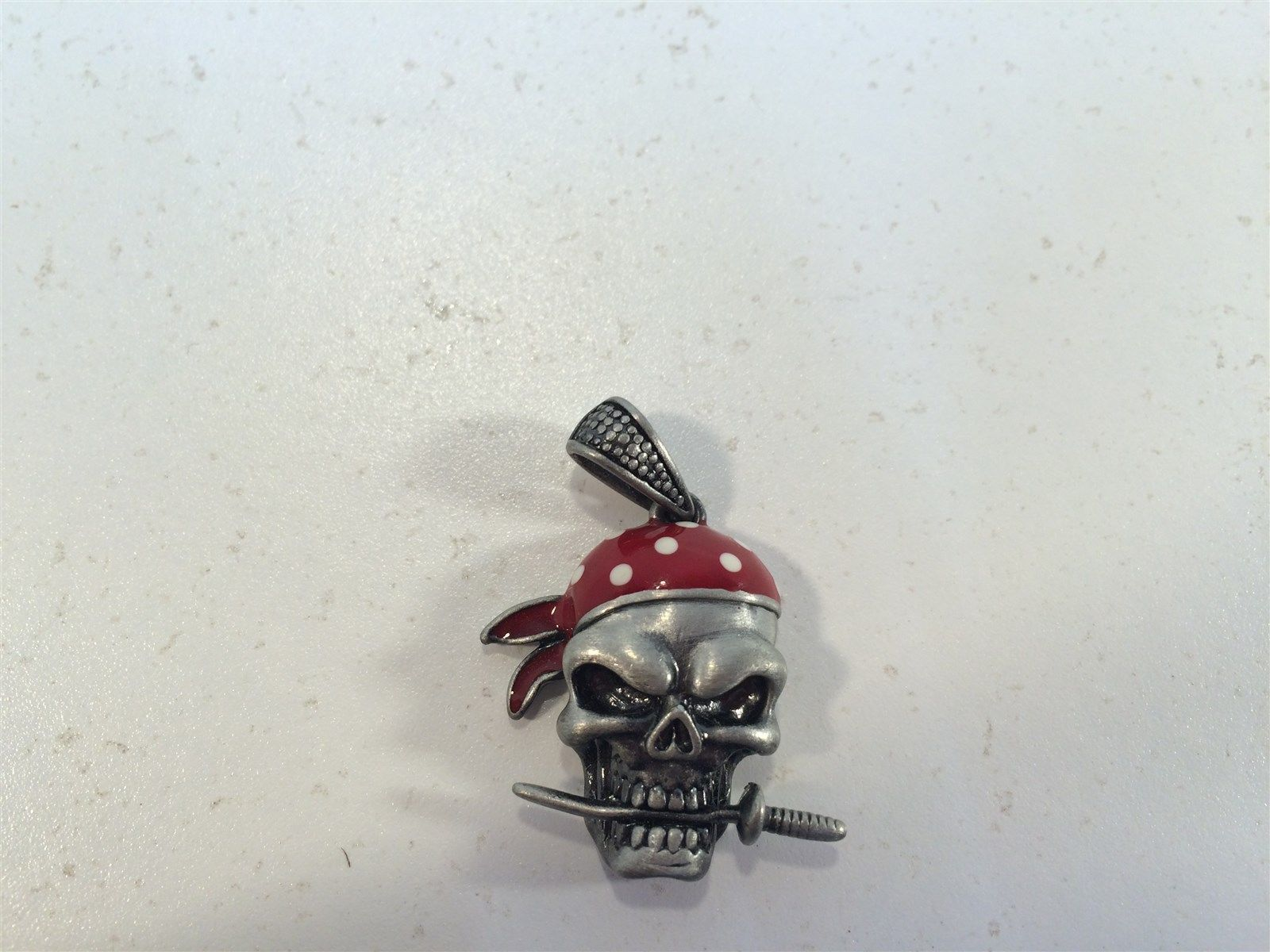 Skull With Dagger in Teeth and Red Bandana Charm Pendant