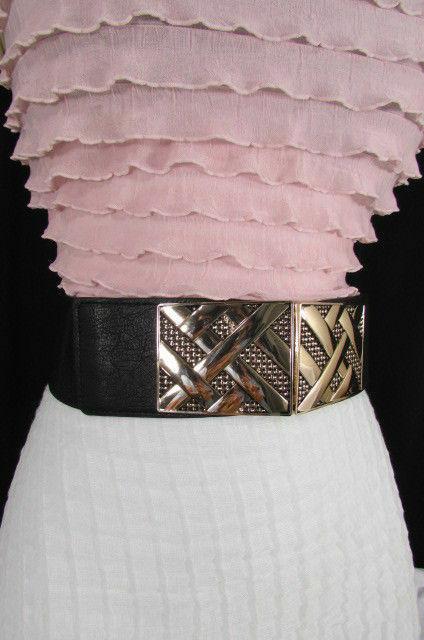 Nero,da Donna Elastico Moda Cintura Vita Metallo Oro Strisce Fibbia Quadrata S M image 5
