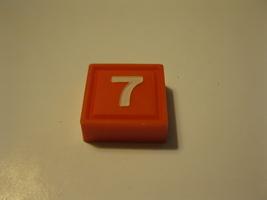 1968 3m bookshelf Quinto Board Game Piece: Red #7 Square - $1.00
