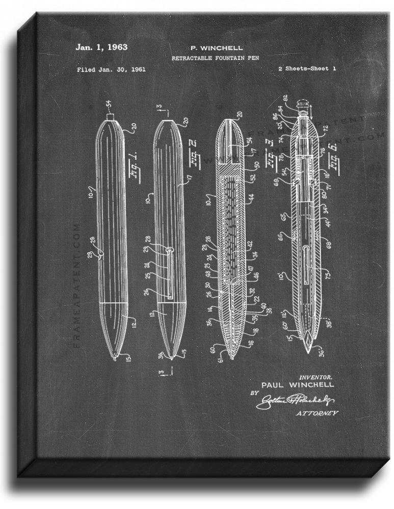 Primary image for Retractable Fountain Pen Patent Print Chalkboard on Canvas
