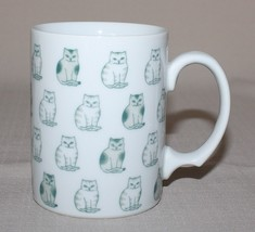 Rows of Sitting Cats Mug Black White Striped Spotted Porcelain Coffee Cup - $10.84