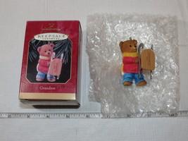 Grandson Hallmark Keepsake Ornament Christmas Bear with sled Die- cast Metal '90 - $22.76