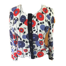 Talbots Womans Medium Blue Red Abstract Floral Cardigan Black Trim Sweater - $21.77