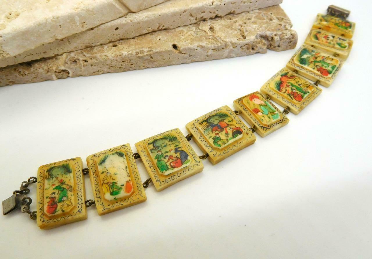 Vintage Hand Painted Oxen Bone Persian Story Panel Bracelet N24