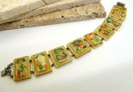 Vintage Hand Painted Oxen Bone Persian Story Panel Bracelet N24 - $69.29