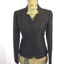 Talbots Blazer 4 Petite Sm S Chocolate Brown Texture Knot Button Dressy Jacket  - $24.95