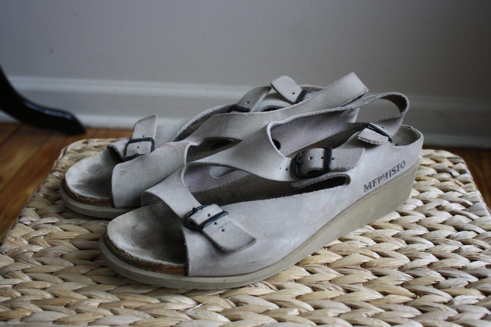 Mephisto 42 12 Beige Nubuck Leather Low Wedge Z Strap Sandals