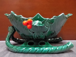 VINTAGE LEFTON CHRISTMAS SLEIGH WITH HOLLY LEAVES - $22.99
