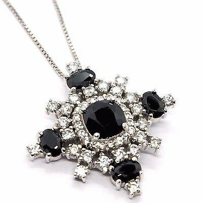 Silver 925 Necklace, Chain Venetian, Pendant Pendant Snowflake, Zircon