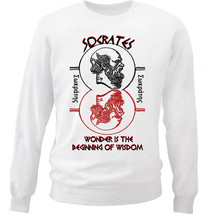 Socrates Wonder Quote - New White Cotton Sweatshirt - $33.08