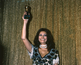 Sophia Loren Holding Award aloft 1977 by Gold Curtains 16x20 Canvas - $69.99