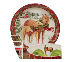 "Horse Christmas on the Farm Ceramic Pasta Serving Bowl 13.25"" H Susan Winget - $46.53"