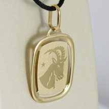 SOLID 18K YELLOW GOLD CAPRICORN ZODIAC SIGN MEDAL PENDANT ZODIACAL MADE IN ITALY image 2