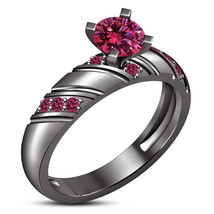 New Year Gift , Black Gold Plated 925 Pure Silver Pink Sapphire Engageme... - $81.98