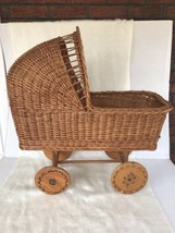 Vintage Wicker/Rattan Baby Buggy Baby Doll Carriage Wood Wheels Nice Ant... - $54.45