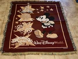 "Disney World Mickey's Mouse Tapestry Throw Blanket 56"" x 46"" Epcot Fantasia - $22.67"